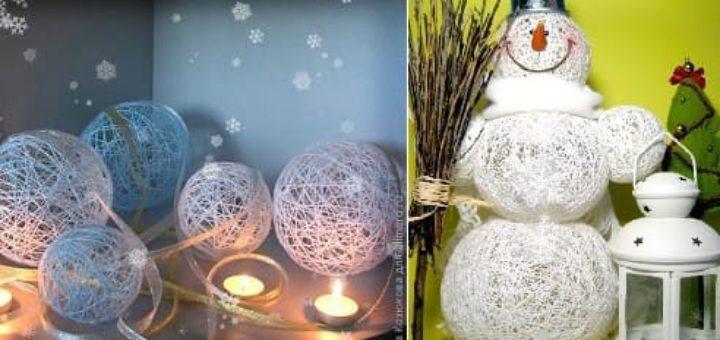 Нежные цветы, снеговик и декоративные шары из ниток