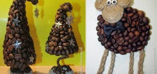 Новогодняя елочка и овечки из кофейных зерен