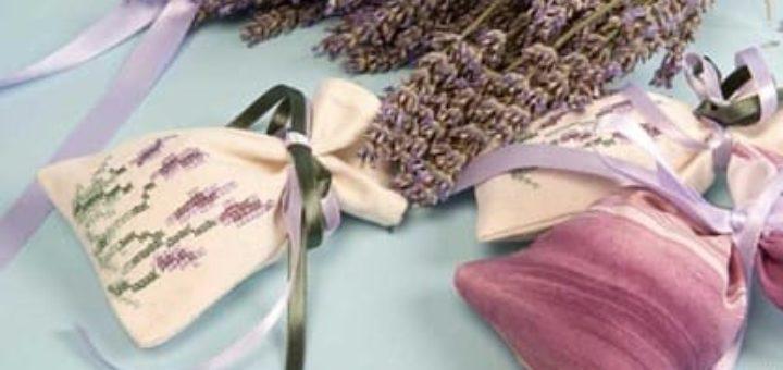Подушечки саше с вышивкой и запахом лаванды