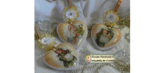 Сердечки с декупажем - украшения своими руками для новогодней елочки
