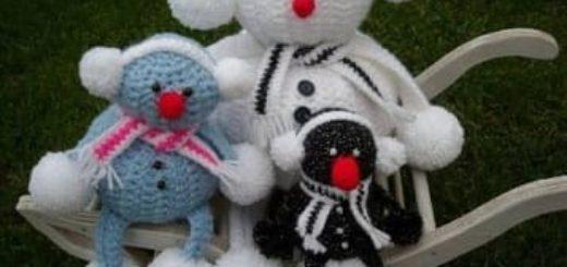 Вязание забавных снеговиков крючком