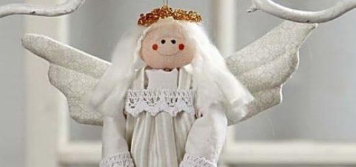 Рождественский ангел - текстильная подвеска для елочки