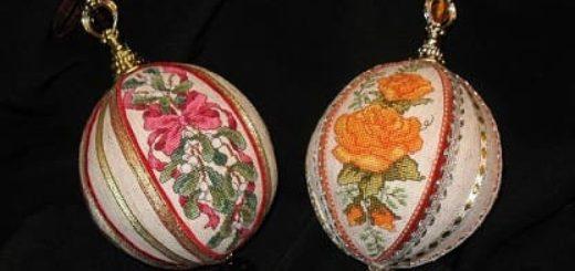 Вышивка. НОВОГОДНИЕ елочные шары и подвески