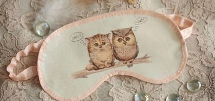 Шьем сами красивую маску для сна с совушками