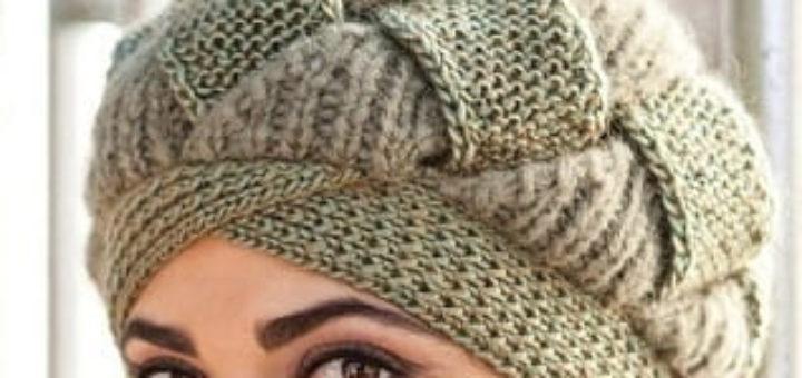 Вязаная шапка от Norah Gaughan спицами из двух видов пряжи