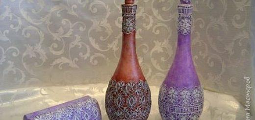 Декорирование бутылок в технике Сицилийское Кружево