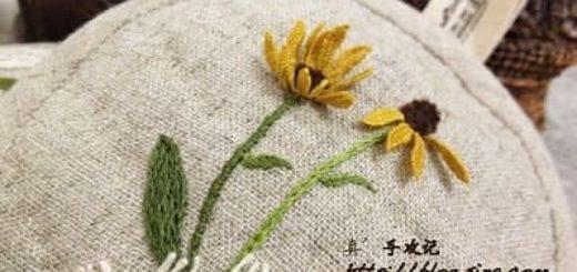 Объемная вышивка ромашек. Фото мк