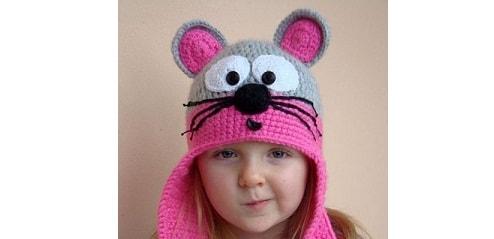 Шапочка МЫШКА с ушками для маленькой девочки