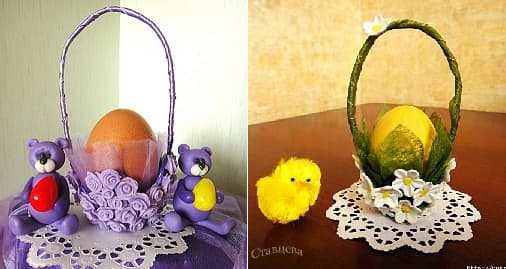 Подставка для пасхального яйца из яичного лотка