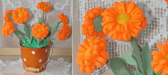 Цветы КАЛЕНДУЛЫ из фетра. Мастер-класс