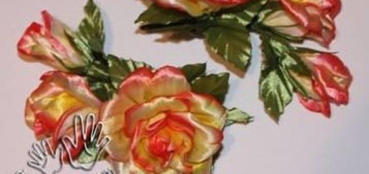 Цветы из атласных лент. Окрашивание акриловыми красками
