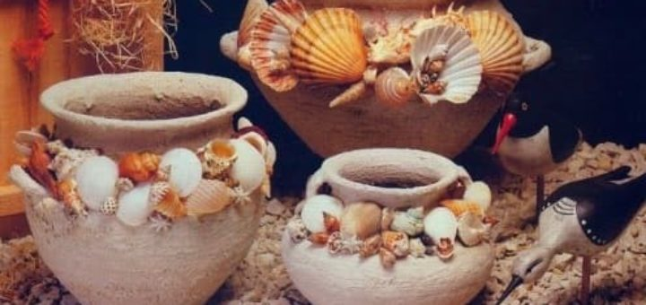 Морской стиль. Декор цветочных глиняных горшков