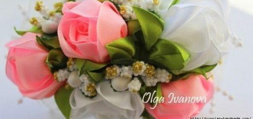 Чайные розы из лент в технике канзаши