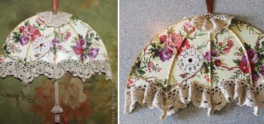 Интерьерные часы - винтажный зонтик из виниловой пластинки