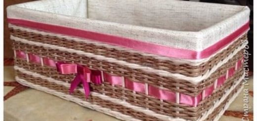 Плетение. Корзинка из газетных трубочек