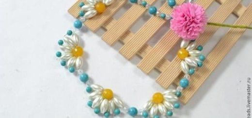 Плетение летнего ожерелья с ромашками
