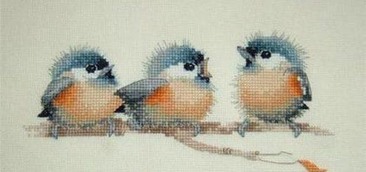 Птенцы вышивкой крестом