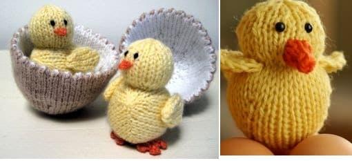 Игрушки спицами. Желтые цыплятки в яйце