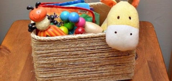 Органайзер из коробки - декорирование шпагатом