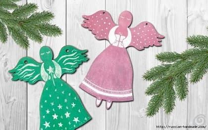 Рождественские ангелы - подвески из картона