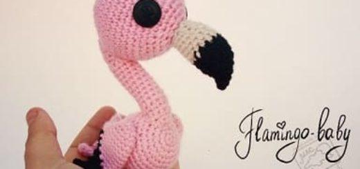Маленький розовый ФЛАМИНГО крючком