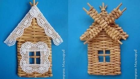 Плетение домика и мельницы из газетных трубочек