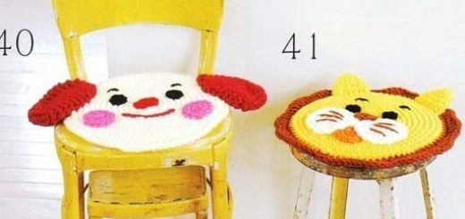 Веселые сидушки крючком для детских стульчиков