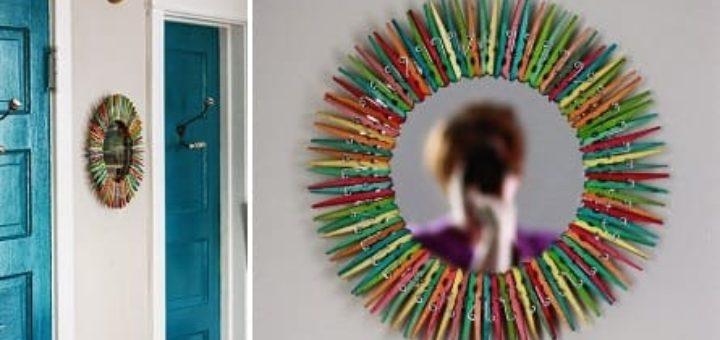 Креативное зеркало из прищепок