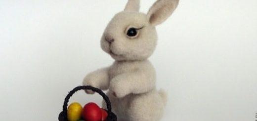 Пасхальный кролик в технике валяние