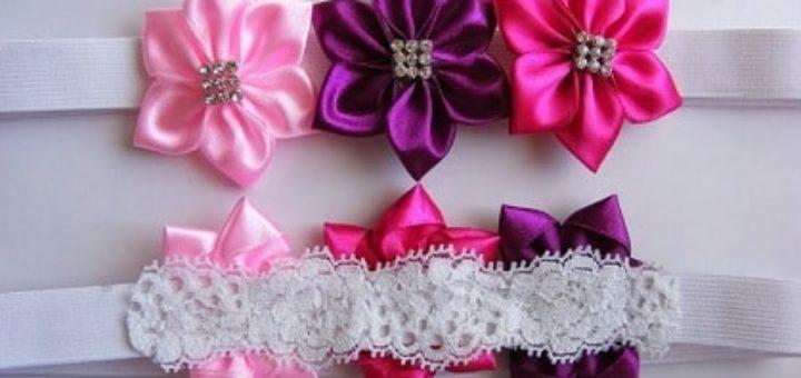Ободок для волос с цветами из атласных лент
