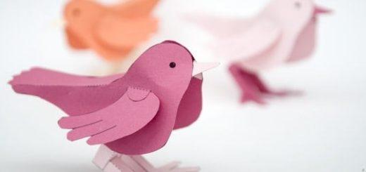 Птичка из бумаги. Шаблон