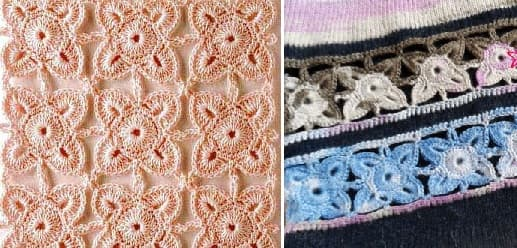 Декор длинного пуловера ажурным мотивом крючком