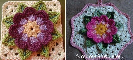 Бабушкин квадрат с цветком. Очень красивый мотив крючком