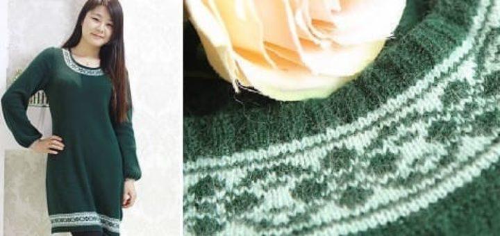 Платье спицами с жаккардовым узором
