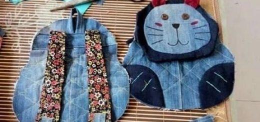 Шитье детского рюкзака из старых джинсов