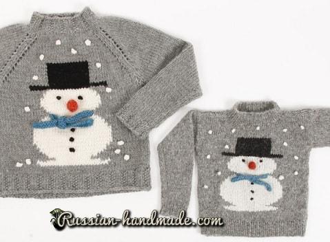 Детский пуловер со снеговиком (1)
