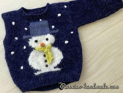 Детский пуловер со снеговиком (2)