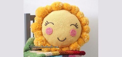 Крючком. Детская подушка «Солнышко» (2)