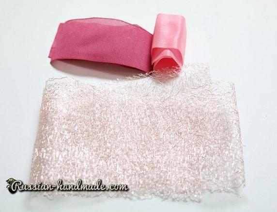 Цветок из лент для украшения волос девочки (1)