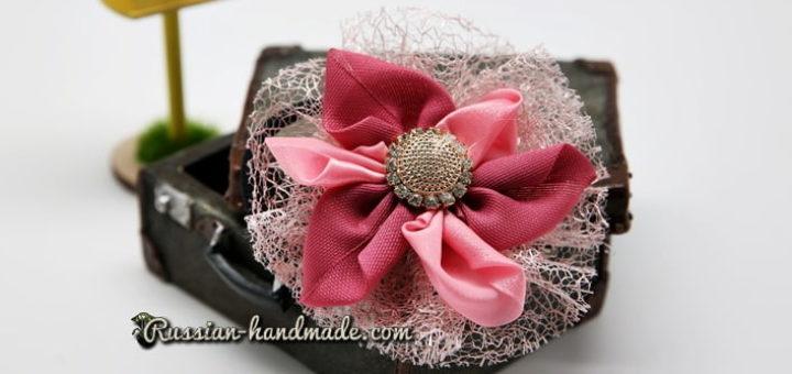 Цветок из лент для украшения волос девочки (11)