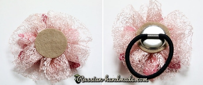 Цветок из лент для украшения волос девочки (8)