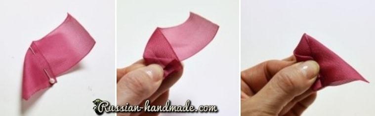 Цветок из лент для украшения волос девочки (9)