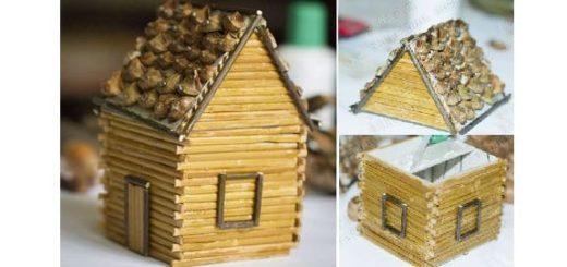 Домик из картона, бамбуковой салфетки и шишек (2)