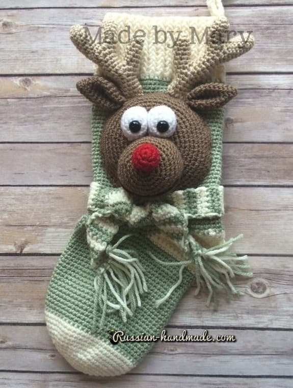 Крючком. Рождественский сапожок с оленем (1)