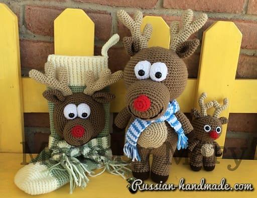 Крючком. Рождественский сапожок с оленем (3)