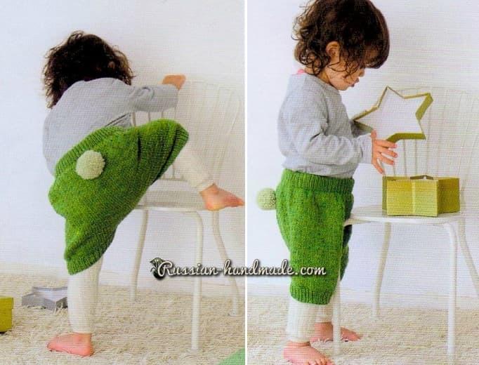 Теплые штанишки спицами для малыша (1)