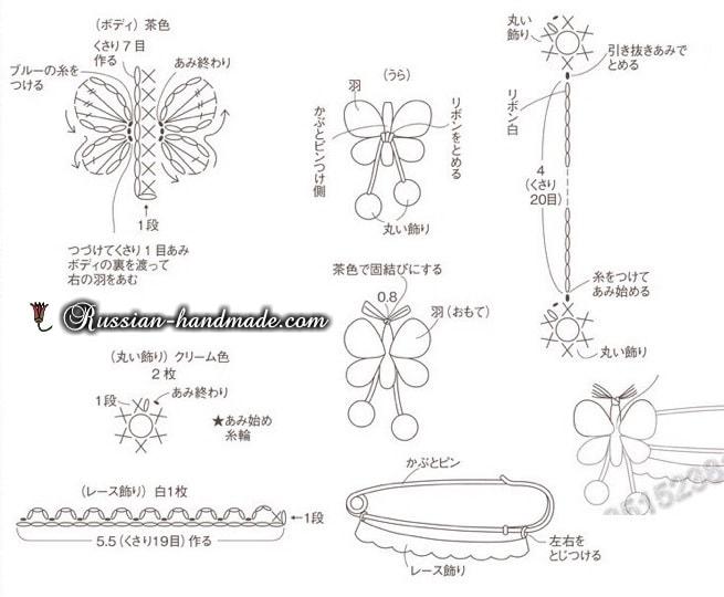 Украшения крючком - цветочки и насекомые (3)