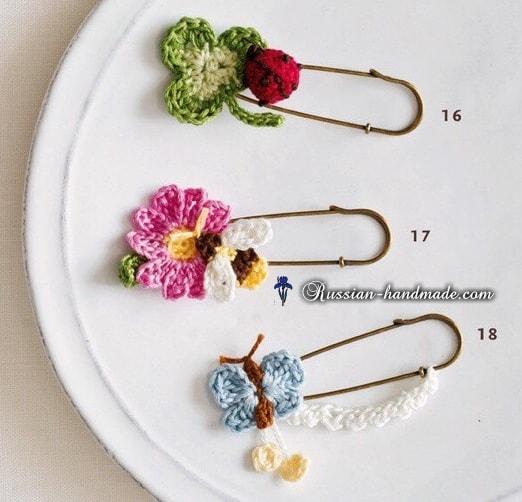 Украшения крючком - цветочки и насекомые (4)