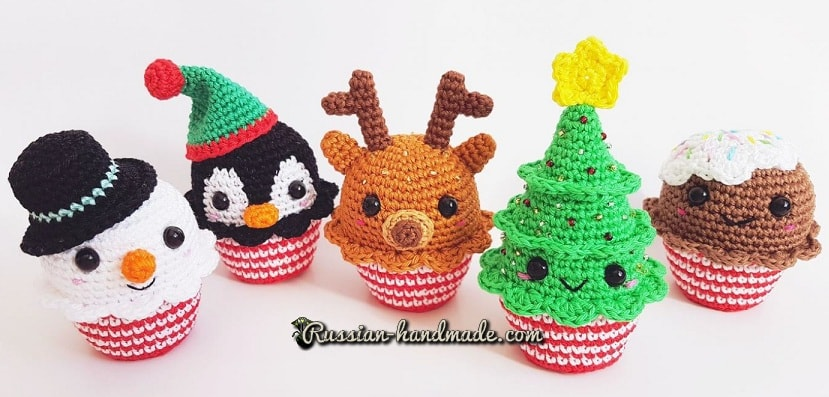 Веселые рождественские кексы амигуруми (1)