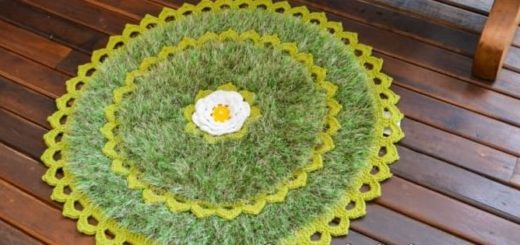 Круглый коврик из пряжи травка (1)